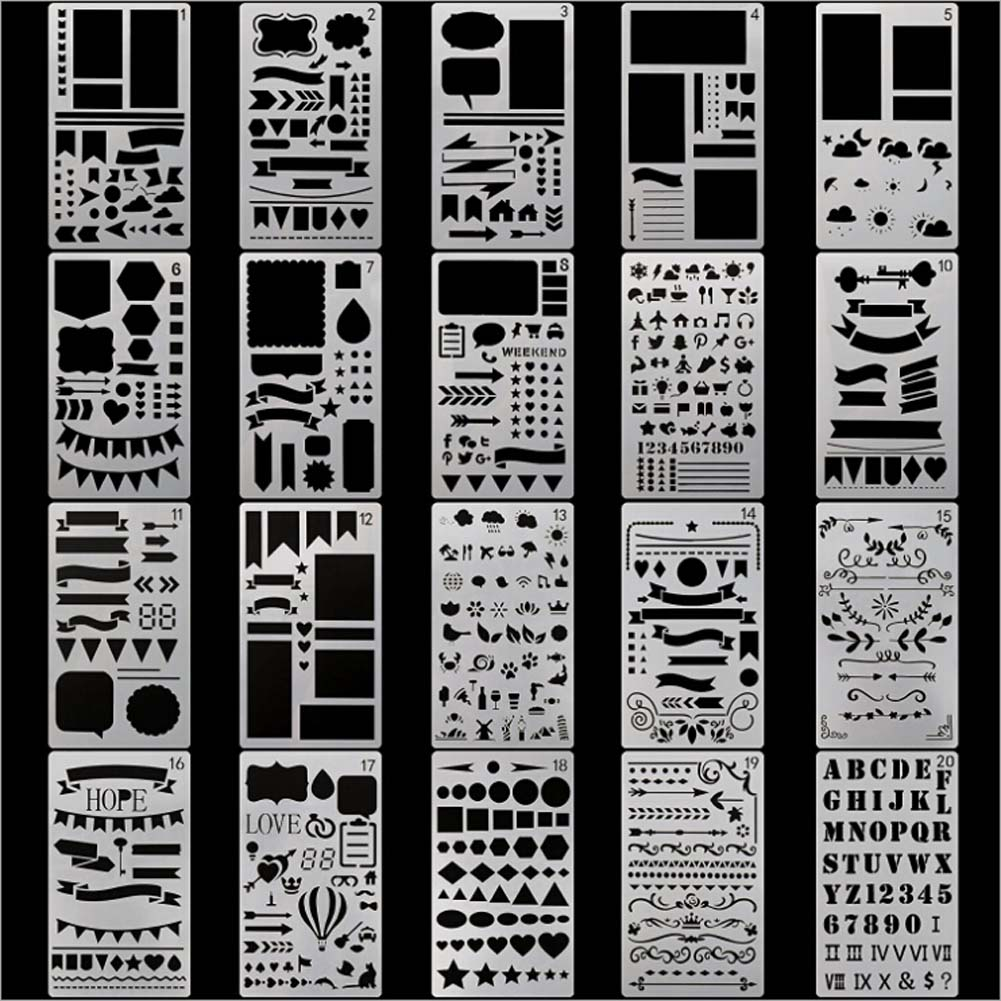 20pcs/set New Creative DIY Stencils School Supplies Hollow Out Drawing Template For Kids