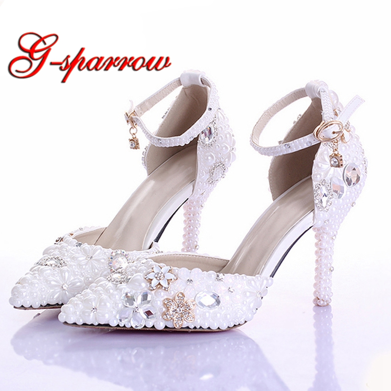 Rhinestone Pearl Wedding Dress Shoes Pointed Toe Stiletto Heels White 9cm Women Lady Cocktail Evening Bridal