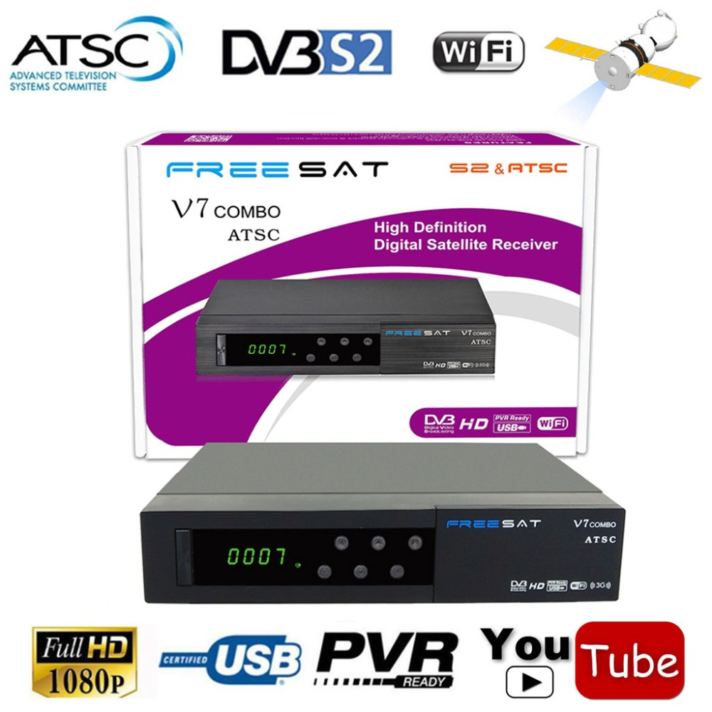 Freesat v7 1080P Digital DVB-S2 Satellite Receiver + (USA CA Mexico) ATSC Combo With HD AC3 CONVERTOR TV Tuner IKS Youtube CCCAM dvb s standalone digital satellite receiver with lan port rs232 yprpb cvbs spdif
