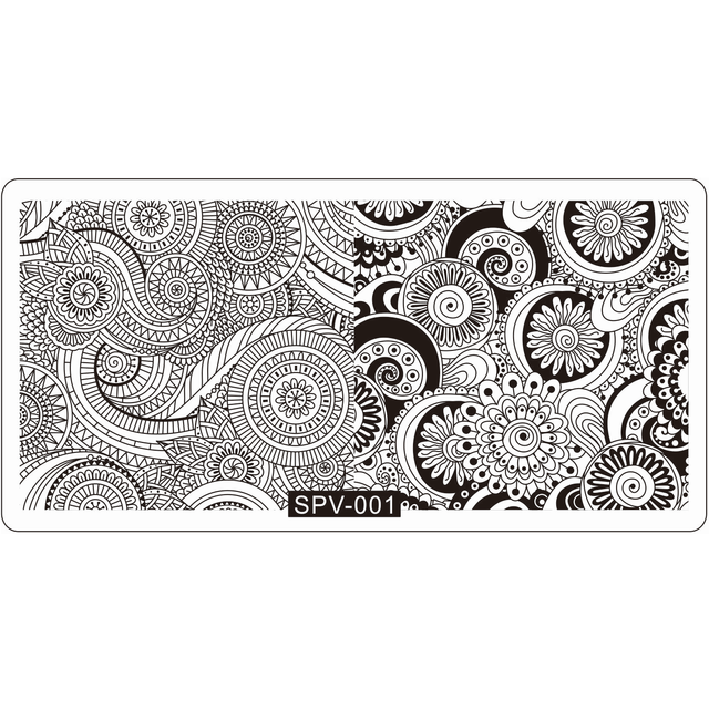 quality nail stamping template round swirl flower pattern new design