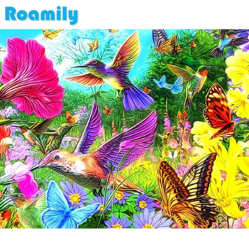 Cuadrado completo de la pintura del diamante, pájaros coloridos con - Artes, artesanía y costura