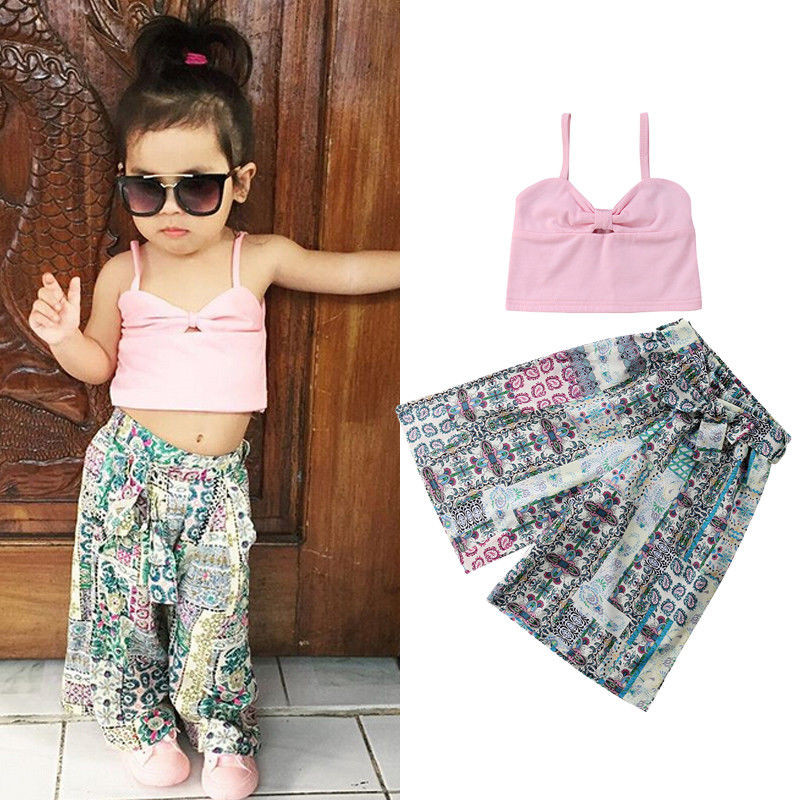 Toddler Kid Baby Girls Cute Flamingo Striped Print Vest Trouser Outfit Clothes