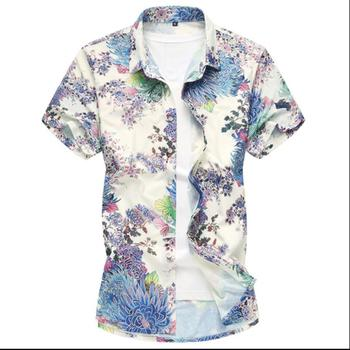 S-7xl 2020 Summer New Men's Fashion Hot Short-sleeved Printing Shirt Plus Fertilizer 6xl 7xl Travel Shirt Vacation Casual Shirts