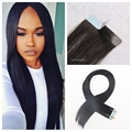 Hot Remy Tape in Human Hair Extensions 100% Brazilian Virgin Hair Extension 1# Jet Black Straight Tape Adhesive Hair Extension