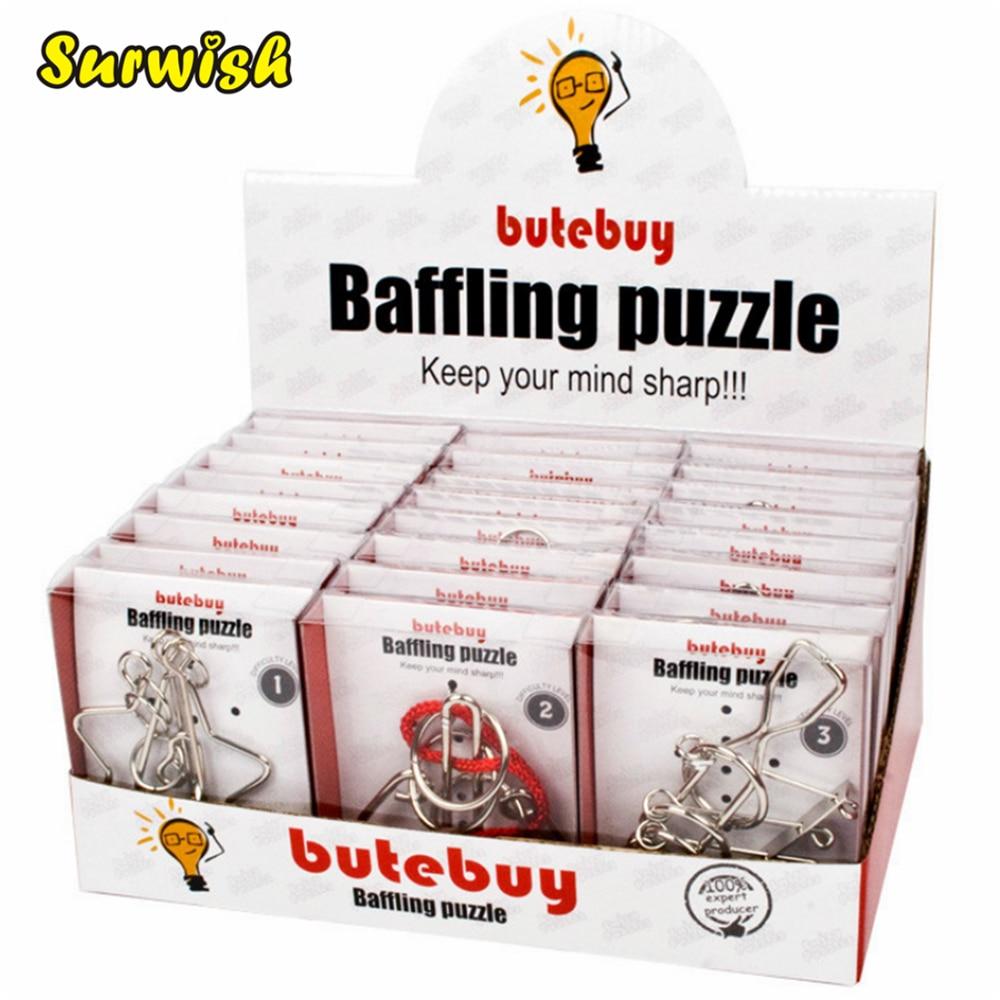 24 pcs/ensemble En Métal Fil Puzzles Casse-tête Classique Jouet Intellectuelle avec Seule Boîte Paquet-Argent