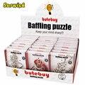 24 pz/set di Filo di Metallo Puzzle Rompicapo Classico Giocattolo Intellettuale con Box Singolo Cornici e articoli da esposizione-Argento
