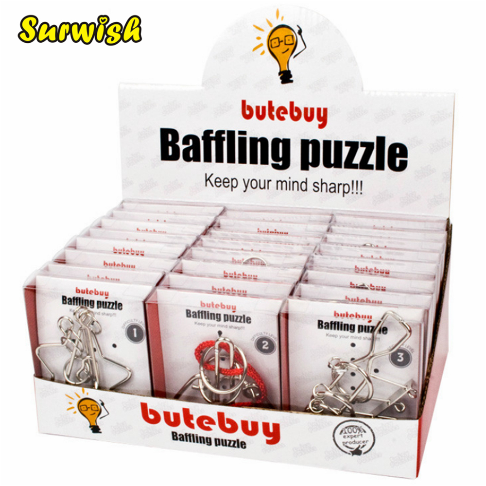 24Pcs/set Metal Wire Puzzles Brain Teaser Classical Intellectual Toy with Single Box Package - Silver carpenterworm shape with hand shank cat faves teaser toy page 8