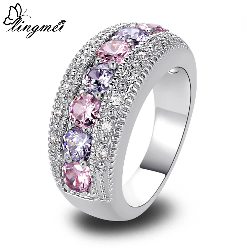 lingmei Wholesale Generous Fashion Lady Pink CZ Tourmaline Silver Color Ring Size 6 7 8 9 10 11 12 13 Romantic Love Jewelry Gift