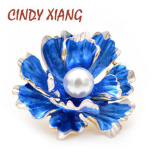CINDY XIANG 6 Colors Choose Enamel Peony Flowers Brooches for Women Wedding Fashion Pearl Pins Elegant Coat Accessories Gift