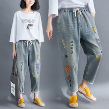 Spring Autumn Woman Denim Pants Korean Edition Cartoon Girl Letter Embroidered Ripped Jeans Plus Size Ankle-length