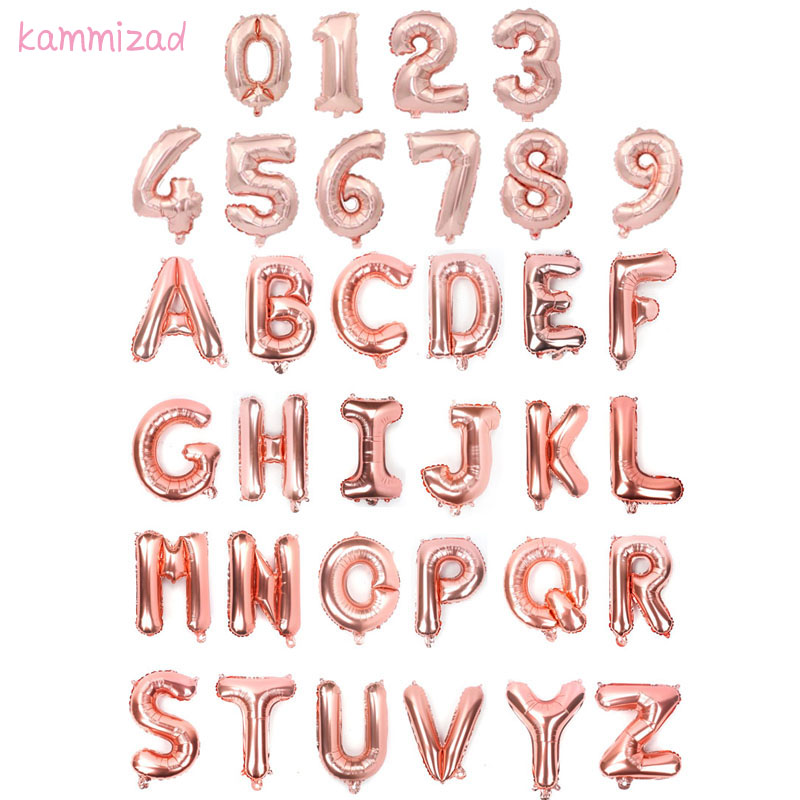 16inch Rose Gold party A-Z Letter Foil Balloon air Ballons lettre kids Birthday Wedding Decor number Event anniversaire Supplies emblem
