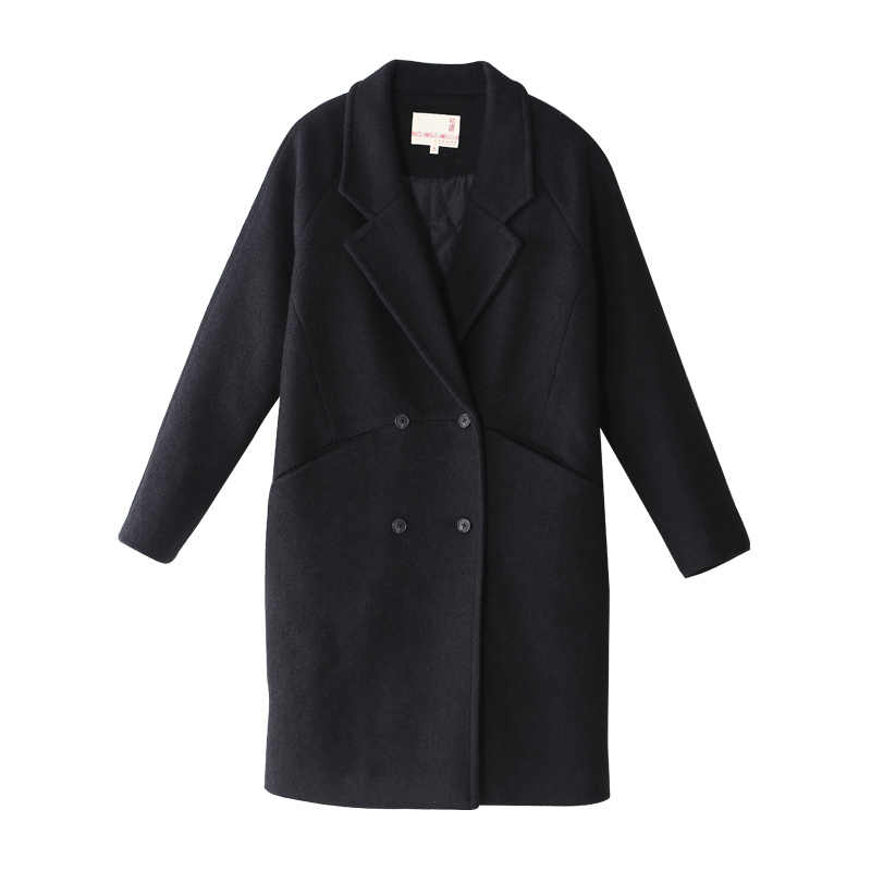 Toyouth Loose Double Breasted Solid Long Woolen Coat For Women Autumn Winter Female Coat Casaco Feminino