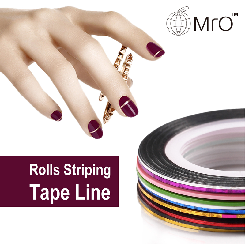 10 Rolls Multicolor Mixed Colors Rolls Striping Tape Line Nail Art Decoration Sticker DIY Nail Tips 30pcs pack 2m mixed colors rolls 3d striping tape line diy nail art decoration sticker uv gel polish tips metallic yarn decal