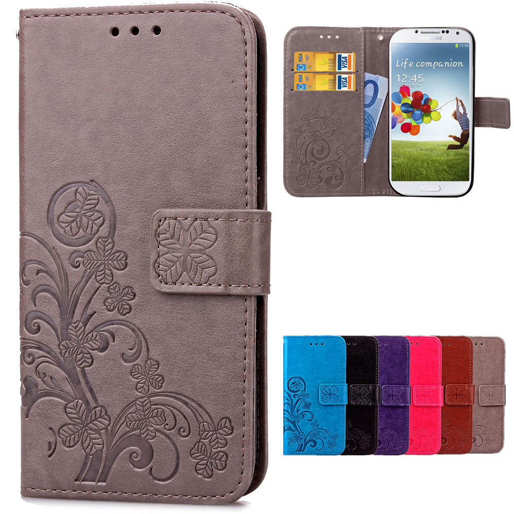 3D Leather Card Holder Stand Magnetic Flip Clover Wallet Cover For Samsung Galaxy S9 S8 Plus S3 S4 S5 Mini S6 S7 Edge Phone Case
