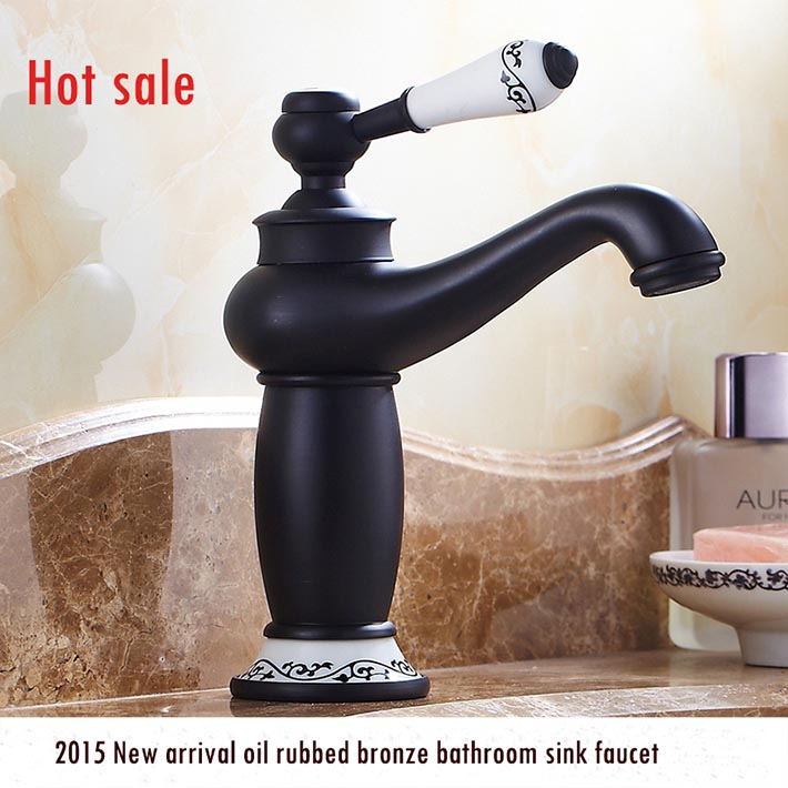 Home Builder Touch On Bathroom Sink Faucet Single Handlehole Ceramic Handle  Oil
