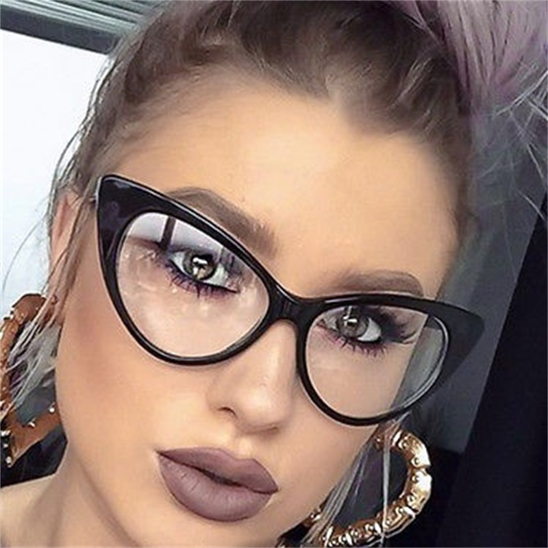 2d41e560cf4 fashion big cat eye glasses with clear lens women vintage retro red  eyeglasses optical frame myopia glasses acetate frame UV400-in Sunglasses  from Apparel ...