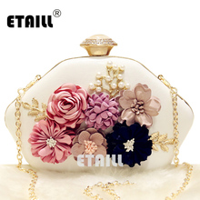 ETAILL 2017 Women Floral Evening Clutch Bags Ladies Day Clutches Retro Beaded Pearl Wedding Party White Shoulder Bag