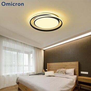 Omicron โมเดิร์นโคมไฟระย้า LED รอบอลูมิเนียมโคมไฟเรียบง่ายสำหรับห้องรับแขกห้องนอนในร่มสีดำสีขา...