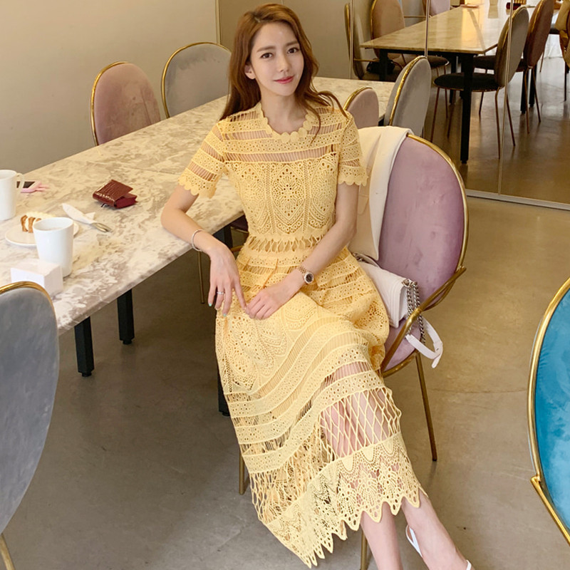 Women Elegant Yellow Lace Dress Summer Style Short Sleeve Hollow Out Sexy Women Clothes Casual Female Party Midi Vintage Dress