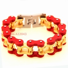 Heavy! New Arrival Heavy Mens Gold Red Mix Color 316L Stainless Steel Large Biker Motorcycle Chain Bracelet Jewelry 9″ * 22mm