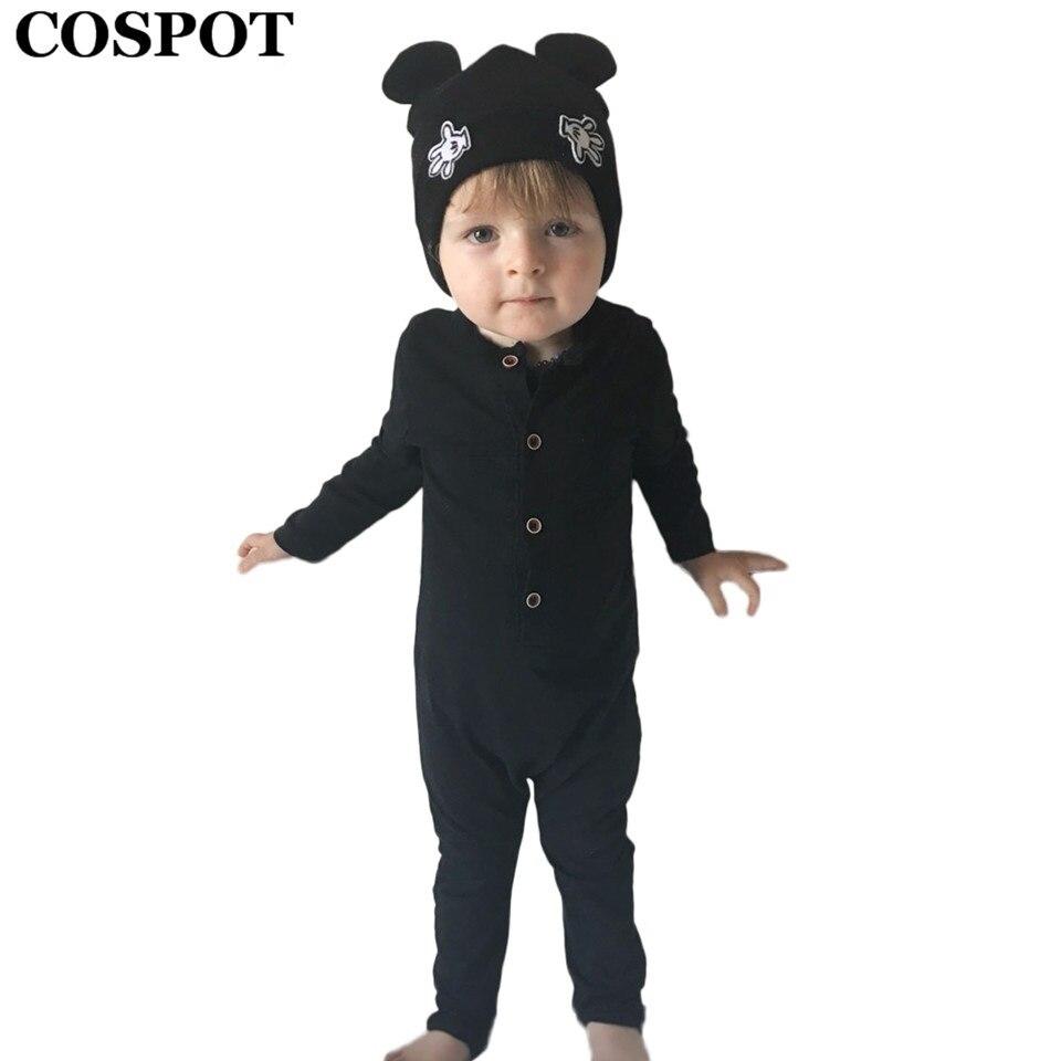 COSPOT Baby Boys Plain gris Romper recién nacido de manga larga liso negro mono niño primavera mamelucos ropa de bebé niño 2019 nuevo e38