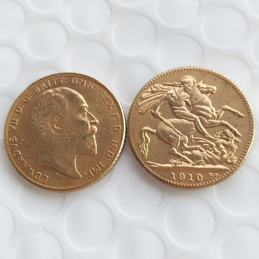 1910 Edward VII Sovereign oro Londres Mint lustre superb copia ...