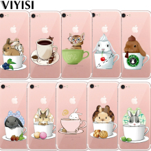 VIYISI For Apple iPhone 5 5S SE 6 6S 7 8 Plus X Teacup Animal Rabbit Phone case Soft Silicone TPU Back Cover Coque Shell