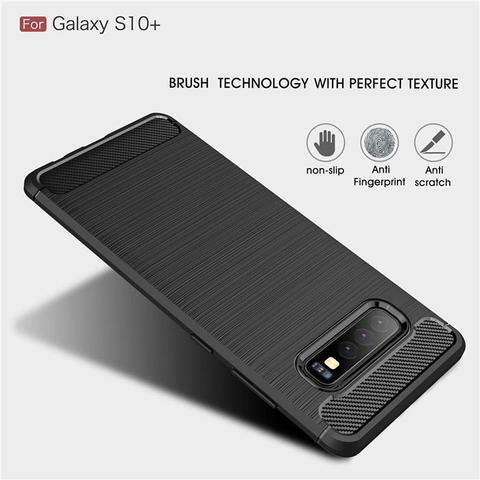 For Samsung Galaxy S10 Case Shockproof Carbon Fiber Soft Silicone Case for Samsung S10 Plus S10E E Protective Case Bumper(China)