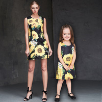 brand women 3XL infant sunflower jacquard dress mother and daughter dresses mother baby girl matching dress family look clothing