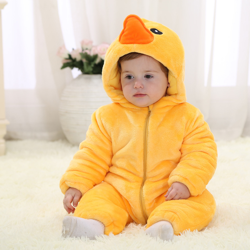 Yello Duck Winter Baby Clothes Baby Girl Romper Baby Boy Christmas Party Jumpsuit Toddlers Baby Romper 6 12 18 24 Month RL11-21 цены