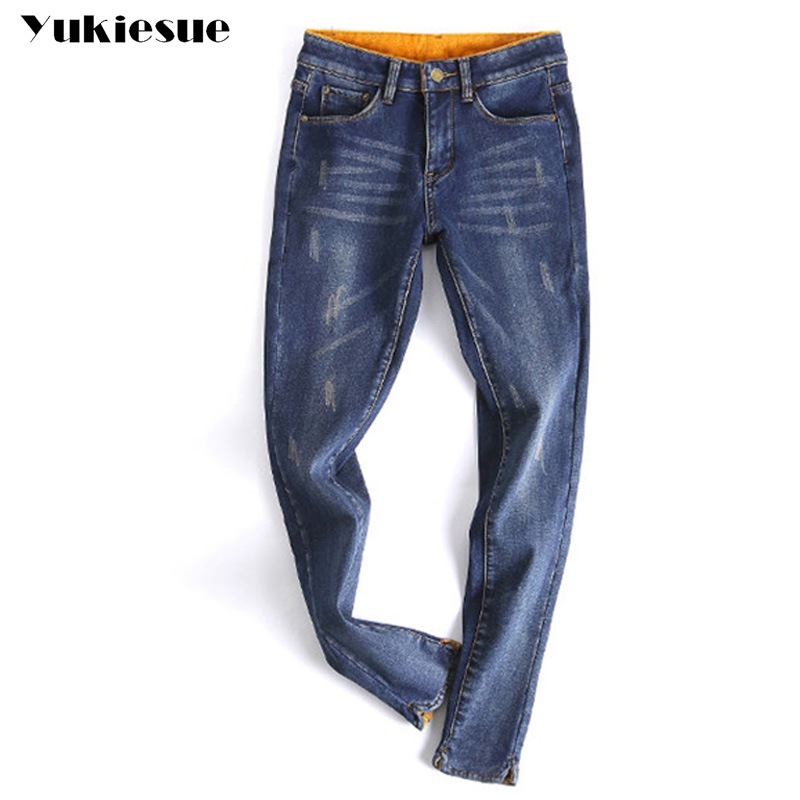 Ripped jeans women high waist 2017 winter warm with velvet hole skinny slim casual denim pencil pants female jeans femme mujer ripped hole flowers print casual women jeans pencil pants female denim jeans high waist long skinny jean femme