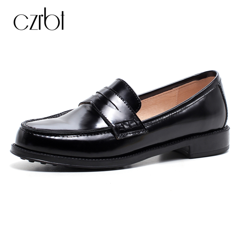 CZEBT Shallow Mouth Loafers 2018 Spring Autumn Fashion Women Shoes Concise Round Toe Flat Shoes Women Black Patent Leather Flats e hot sale wholesale 2015 new women fashion leopard flat shallow mouth shoes lady round toe shoes