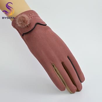 [BYSIFA] panie rękawiczki zamszowe rękawiczki zimowe kolorowe rękawiczki rękawiczki Plus aksamitne ciepłe norek piłka rękawiczki damskie wielbłąd szary czarny granatowy niebieski tanie i dobre opinie Poliester Elastan Skóra syntetyczna Kobiety BSH-XM03 Moda Nadgarstek Stałe Dla dorosłych 95 Polyester +5 spandex 24cm
