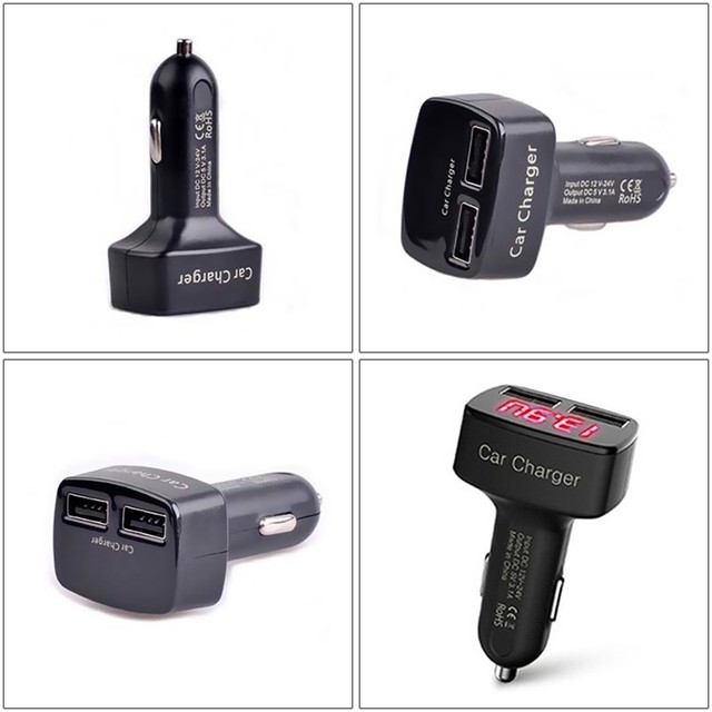 4 in 1 Dual USB Car Charger Digital LED Display DC 5V 3.1A Universal Adapter with Voltage/Temperature/Current Meter Tester