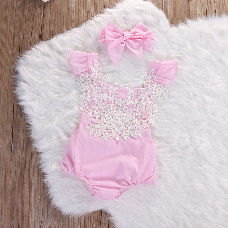 Adorable Lovely Newborn Baby Girl Backless Sleeveless Bodysuit Lace Floral Printed Jumpsuit Headband Outfits Sunsuit 2pcs Set