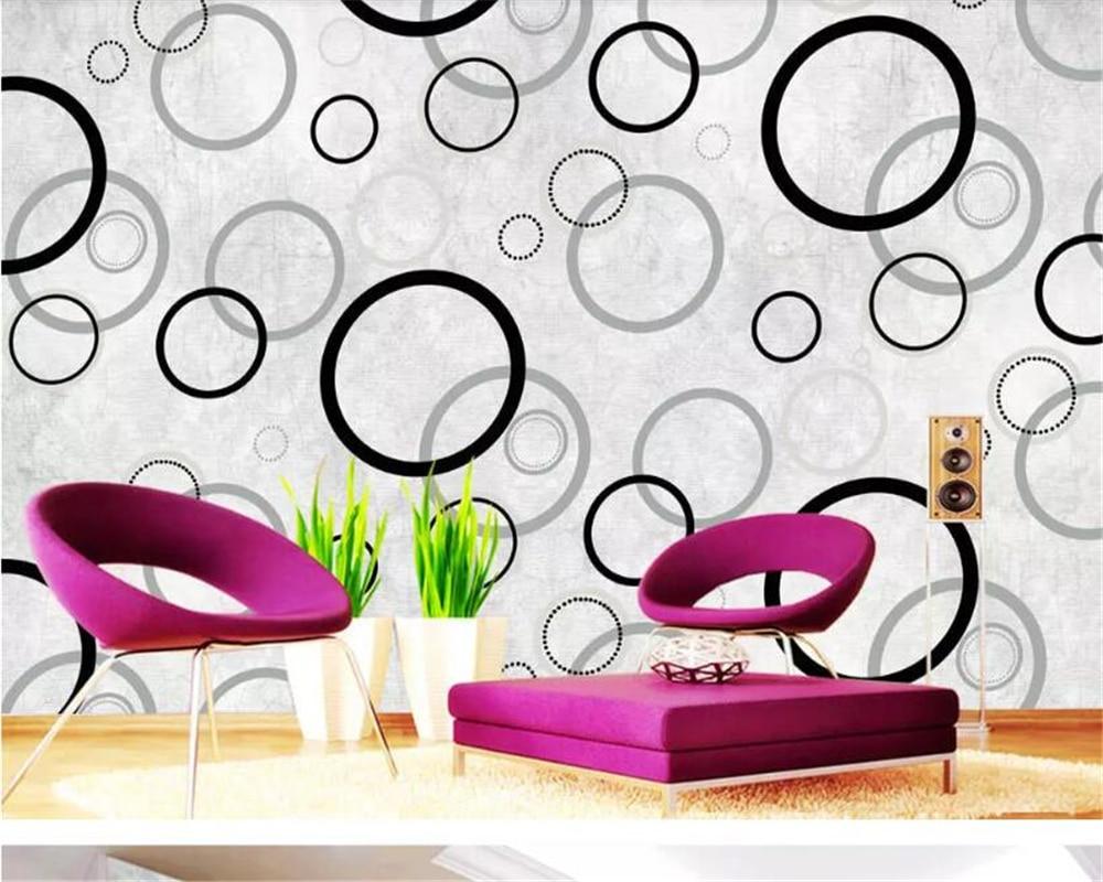 Beibehang Papel Mural Sederhana Hitam Dan Putih Lingkaran Wallpaper Modern Dekorasi Rumah Dinding Latar Belakang Tv Wallpaper Untuk Dinding 3 D Wallpaper Aliexpress