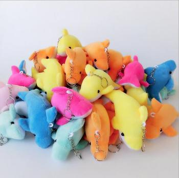 100Pcs Funny cartoon dolphins keychain Accessories Soft Round Stuffed Plush smile keychain gift S532