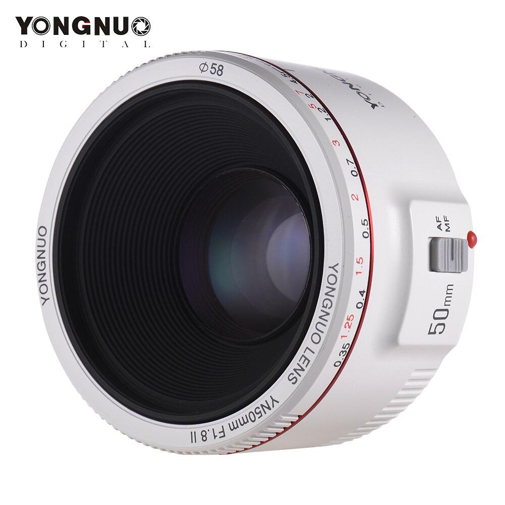 YONGNUO obiektyw YN50mm F1.8 II standardowy obiektyw główny automatyczne ustawianie ostrości 0.35 i najbliższe dziesięć centra długość ogniskowej obiektyw do modeli Canon EOS 70D 5D2 5D3 600D w Obiektywy do aparatu od Elektronika użytkowa na AliExpress - 11.11_Double 11Singles' Day 1