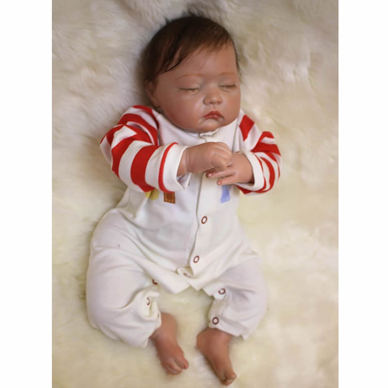 Alive Sleeping Baby Girl Dolls Realistic Silicone Reborn Babies 20 Inch Newborn Doll With Rooted Mohair Kids Birthday Xmas Gift sleeping realistic baby doll reborn 20 inch newborn full silicone vinyl alive babies dolls with leopard dress kids playmate