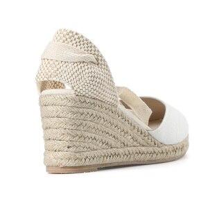 Image 3 - Nowy 0 3cm Tienda Soludos damskie sandały na koturnie pasek na kostkę Cap Toe Espadrille sandały zwięzłe bawełniane tkaniny {sandały} kobiety