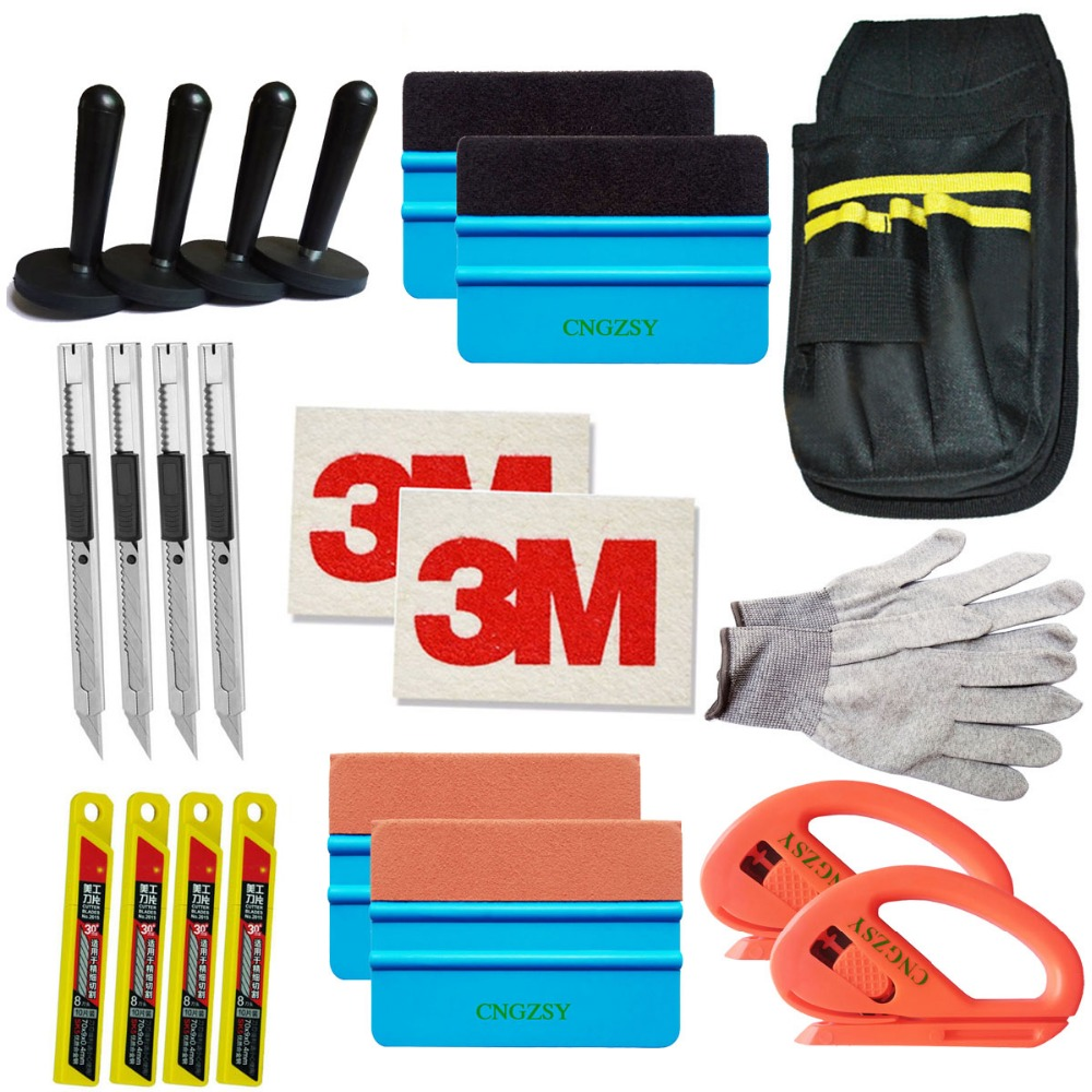 CNGZSY Standard Pro trousse à outils Combo housse de voiture en vinyle sac raclette rasoir gant 4 aimant art couteau lames 3 M laine daim raclette K27