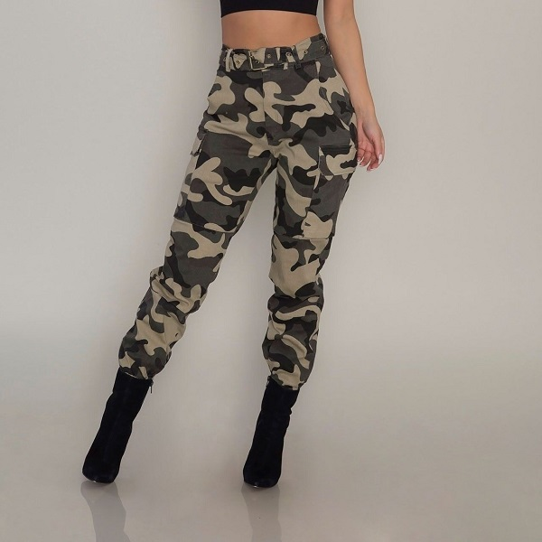 New Ladies Plus Size Trousers Womens Bottoms Army Camouflage Print Cuffed Soft