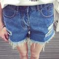2016 летний стиль женские мода старинные кисточка разорвал широкий высокой талией короткие джинсы панк сексуальная горячая женщина джинсовые шорты