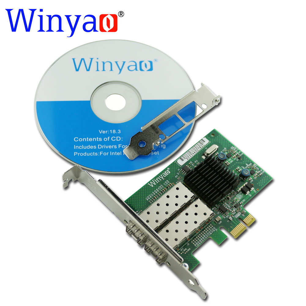 Winyao WY576F2SFP PCI-Express 2.0 x1 Dual Port SFP Fiber Gigabit Ethernet Network Adapter(NIC) PRO/1000 82576 E1G42EF Lan winyao wyi350t4 pci e x4 rj45 qual port server gigabit ethernet 10 100 1000mbps network interface card for i350 t4 4 port nic