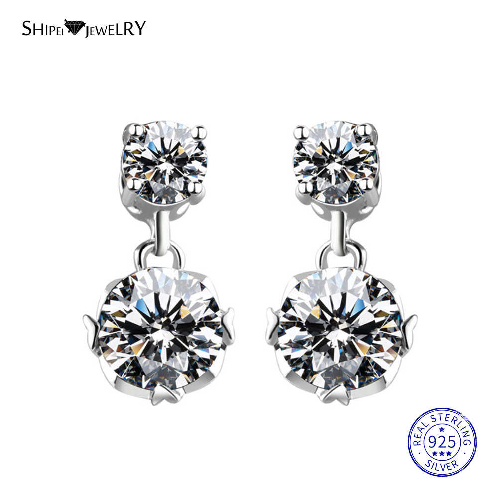 Shipei 100% 925 Sterling Silver Fine Jewelry White Gold White Sapphire Round Pendant Drop Earrings for Women Birthday Gift