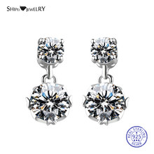 Shipei 100% 925 Sterling Silver Fine Jewelry White Gold White Sapphire Round Pendant Drop Earrings for Women Birthday Gift(China)