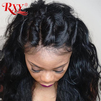 RXY Malaysian Body Wave Wig Glueless Lace Front Human Hair Wigs For Women Black Non Remy Human Hair Lace Front Wigs Pre Plucked
