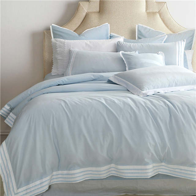 ca7d3a8802 placeholder 100% Algodão Branco Azul Sólidos conjuntos de Cama de Casal  King size Rainha conjunto de