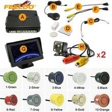 """Автомобиля 4.3 """"ЖК-дисплей Мониторы + 6-Сенсор радар + 2 шт. 4-LED Камера двойной визуальный заднего вида видео парковка Сенсор Системы #1013"""