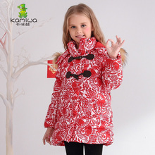 2016 Floral Printing Long Girls Winter Coats And Jackets Kids Outwear Warm Down Jacket Girls Clothes Parkas Baby Girls Clothing